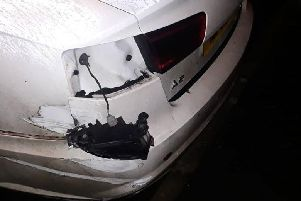 Picture of damaged car released by the PSNI.