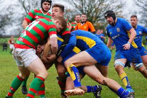 Adam Goodwin and try scorer Ben Young combine to blunt Matlock's power game. Picture: Jon Staves EMN-191118-122519002