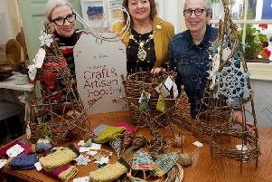 Mayor of Derry City and Strabane District Council, Councillor Michaela Boyle launching the 2019 Guildhall Craft and Artisan Food Fair with Helena Hasson, Events Co-ordinator at DCSDC and Crafter Fiona Doney.