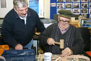 Raymond Kerr (standing) with another Shedder at AMH New Horizons Antrim