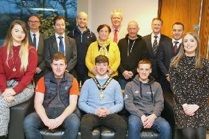 The Mayor of Causeway Coast and Glens Borough Council Councillor Sean Bateson hosted a reception for successful Northern Regional College apprentices who qualified for the WorldSkills UK live finals in Birmingham. Included in the photo are front row L to R, Abigail Reilly, apprentice plumber with Dowds Group, Patrick McCloskey, apprentice carpenter with Dan Mullan, Glenullin; Samuel Gilmore, apprentice carpenter with Mark Pollock Joinery, Kilrea; Melissa Cunning, HR & Communications Co-ordinator Dowds Group. Back row, L-R, David Reilly, Abigail's father; Mel Higgins, Vice Principal and Chief Operating Officer, Northern Regional College; Dan Mullan; Edelene Gilmore, Ian Forsyth, carpentry lecturer;  Henry Gilmore; Brian Cunning, Director Dowds Group, Wesley Craig, plumbing lecturer, Northern Regional College