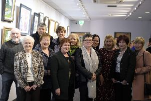 Members of the Ardboe Art Group with Denis Ferguson (the Art tutor/facilitator) and Christine Mc Gowan (The Arts & Cultural Development Officer Mid Ulster Council)