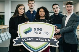 SSE Airtricity supports UU scholars: Caoimhe Laird (Dungannon), Aaron Wiley (Strabane), Mia Fahey McCarthy (SSE Airtrcity) Simon Thompson (Castlederg) and Sean McGeary (Dungannon)