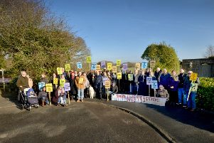 Residents of Clavering Walk, Cooden, protesting over Bellway's plans.  Pictured at the entrance of the proposed site. SUS-190220-103633001