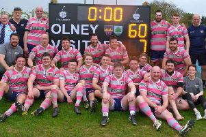 The Olney team with their new digital scoreboard sponsored by the Cherry Tree | Pics: Jeff Bowden