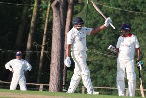 Nimesh Chavda celebrates his century