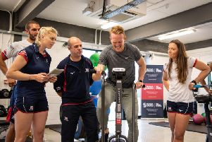 Greg Rutherford is put through his paces
