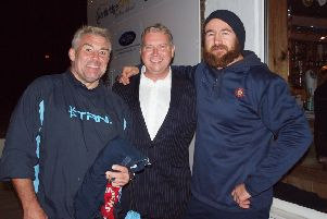 From left, Jason Leonard, club sponsor and executive member Chris Topping  and Camelot head coach Sam Townsend.