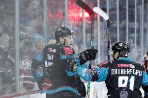 Belfast Giants' Kyle Baun celebrates scoring against Nottingham Panthers during Sunday nights Elite Ice Hockey League game at the SSE Arena, Belfast.   Photo by William Cherry/Presseye