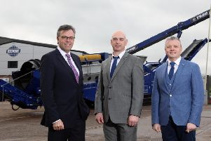 Invest NI CEO Alastair Hamilton, with Niall McKiver, operations director, and Darragh Cullen, MD Edge Innovate