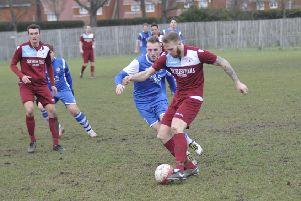 Ryan Paul on the ball during Little Common's 2-0 defeat at home to Saltdean United last weekend. Picture by Simon Newstead