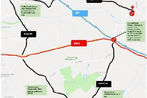 Area of A421 closure (red) and diversion routes (black)