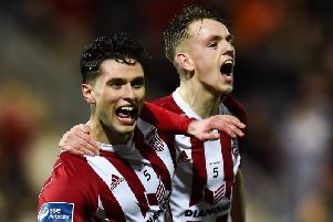 Derry City's Eoghan Stokes celebrates with man of the match Ciaron Harkin, after scoring against UCD.