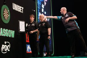 Rob Cross at the oche during his Unibet Premier League win over James Wade last Thursday. Picture courtesy Steve Welsh/PDC