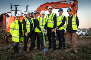From left, Julia Keeling and Jon Bennett from Leicestershire County Council, Shaun Hunt of J Tomlinson, Councillor Blake Pain, Darroch Baker, Sean Conneely, Pick Everard and Paul Boswell from J Tomlinson