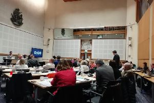 Cllr Ollie Sykes, Green finance lead, speaking at Hove Town Hall this afternoon