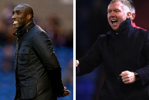Macclesfield boss Sol Campbell and Oldham manager Paul Scholes
