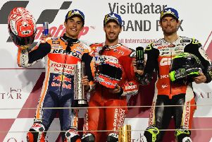 Qatar podium with L_R Marc Marquez, Andrea Dovizioso and British star Cal Crutchlow