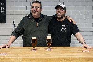 Round Corner Brewing founders Combie Cryan and Colin Paige celebrate winning gold and silver medals at the 2019 International Brewing Awards EMN-190313-163454001
