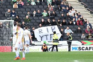 Yeovil fans with a banner reading 'RIP YTFC'