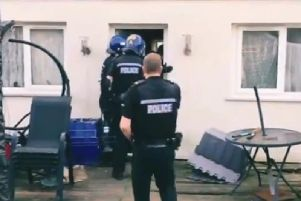 Video shows police using the detection dog at the house in Tinkers Bridge, MK