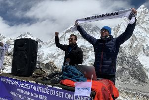 Melton's Ian Kerr and DJ Damion Houchen break the world record for performing the highest altitude DJ Set on land (approx 5,590m) on the mountain of Kala Pattar in the Everest region of the Himalayas EMN-191204-111437001