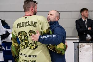 Phantoms# man of the match Ales Padelek is consoled by head coach Slava Koulikov after defeat against Hull. Photo: �2018 Tom Scott. All rights reserved.