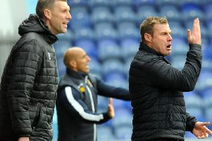Mansfield manager David Flitcroft during the 2-1 defeat to Stevenage