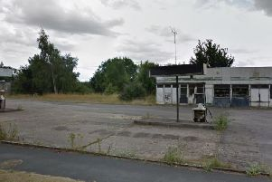 The site of the old service station before demolition work took place