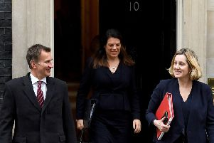 Jeremy Hunt and Amber Rudd outside Downing Street  (Photo by Leon Neal/Getty Images)