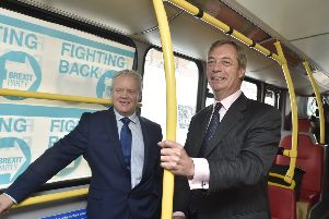 Mike Greene and Nigel Farage during the by-election campaign