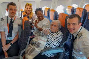 Gladys with easyJet Captain Mike French and First Officer Adam Payne