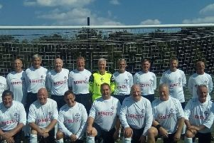 England Over 60s football team, featuring defensive stalwarts Stannard (back row, centre) and Suggett (front row, third from right) EMN-191007-083225002