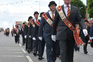 Members of the LOL 469 make their way through Cookstown on the Twelfth of July.INMM2617-370
