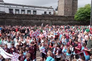 The 2019 O'Neill's Foyle Cup parade arrives in Guildhall Square this morning.