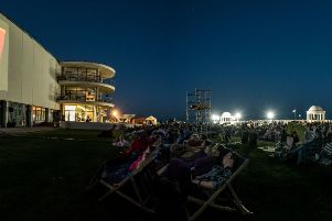 The films are screened on the side of the De La Warr Pavilion. Photo courtesy of Matthew Harmer.