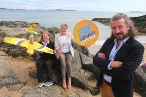 Pictured with John Reid from MATRIX is Louise Mullan, STEM Village Co-ordinator (left) and The Deputy Mayor of Causeway Coast and Glens Borough Council, Alderman Sharon McKillop (right)