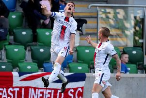 Stephen O'Donnell celebrates his goal against Linfield