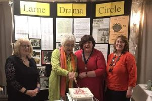 Pictured at Larne Drama Circle's recent 70th Anniversary Celebrations is  longest serving member Nella Buckley, outgoing Chair Sonya Taylor, Treasurer Patricia Bresland and Secretary Alison McCubblin