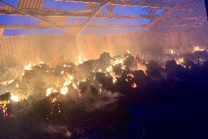 The fire destroyed the barn