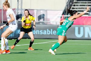 Anna O'Flanagan celebrates her goal for Ireland against Belgium. Pic by Koen Suyk.