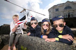 Pictured getting ready for year's Air Waves Portrush is The Deputy Mayor of Causeway Coast and Glens Borough Council, Alderman Sharon McKillop and budding young pilots from Portrush Sorley Jeiger (6) and Jessie Cleland (5) and Lucas Cleland (7)