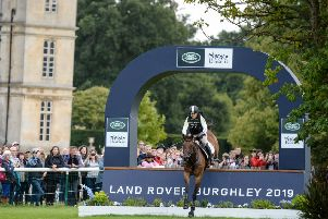 Pippa Funnell  riding MGH GRAFTON STREET during the cross country phase of the  Land Rover Burghley Horse Trials.