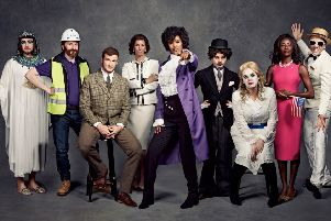 L-R: Sam Thompson, Joe Lycett, Greg Rutherford, Andrea McLean, Maya Jama, Saoirse-Monica Jackson, Roisin Conaty, AJ Odudu and Roman Kemp have dressed up as trailblazers in support of Stand Up To Cancer, a joint fundraising campaign from Cancer Research UK and Channel 4, to fund life-saving research and beat cancer at its own game. For more information visit SU2C.org.uk.' 'For further celebrity quotes, interviews and any other press information please contact Emma Harrod in the Cancer Research UK press office on emma.harrod@cancer.org.uk / 0203 469 5147.