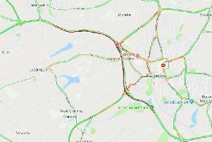 The solid red line shows traffic on the A14.