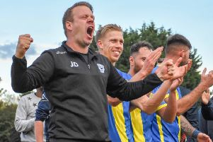 Peterborough Sports boss Jimmy Dean celebrates after the FA Cup win over Guiseley. Photo: James Richardson.