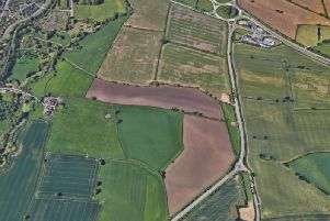 The Eaton Leys site, with the big A5 roundabout at the top