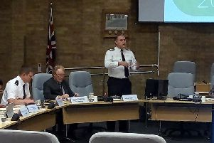 From left Supt Tim Metcalfe, police and crime commissioner Anthony Stansfeld, and chief constable John Campbell at the MK Council meeting
