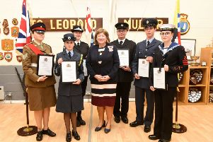 Photo Left to Right: Cadet Sergeant Leah Flores, Cadet Warrant Officer Louise Keetley, Leading Cadet Kate Travers, HM Lord-Lieutenant of Bedfordshire Helen Nellis, Fire Cadet Ryan Harper, Cadet Sergeant Harilaos Karavaggelis and Leading Cadet Elisabeth Allison.