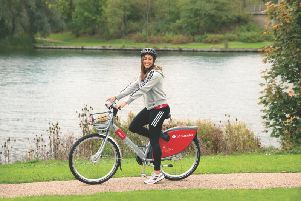 Jessica Ennis-Hill takes one of the new bikes for a spin around MK